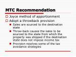 mtc recommendation