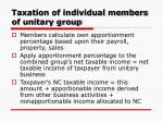 taxation of individual members of unitary group