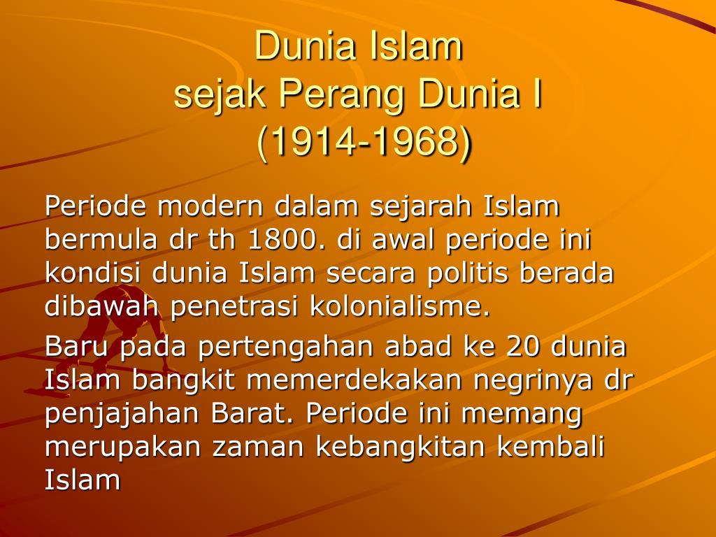 dunia islam sejak perang dunia i 1914 1968 l.