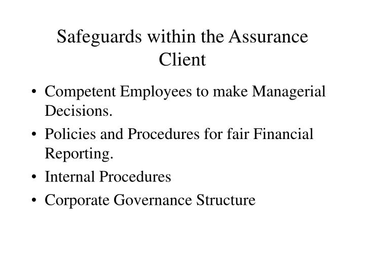 Safeguards within the Assurance Client