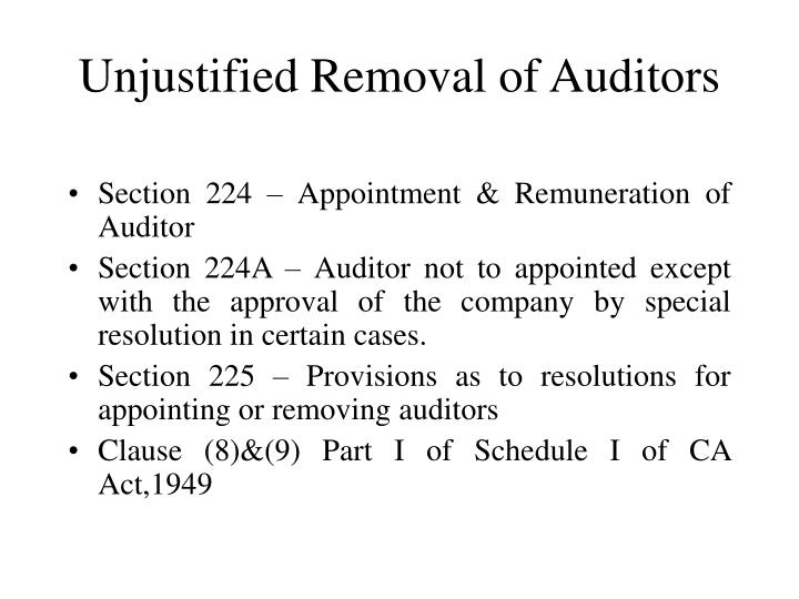 Unjustified removal of auditors