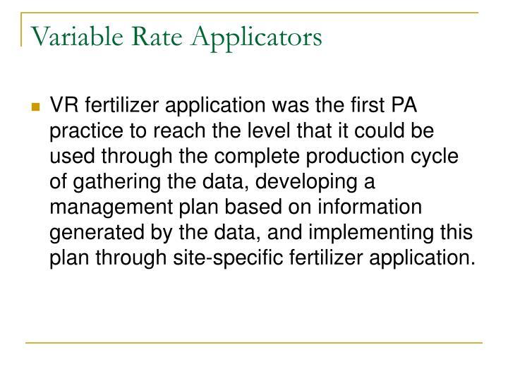 Variable Rate Applicators