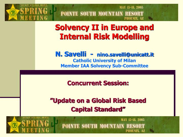 concurrent session update on a global risk based capital standard n.