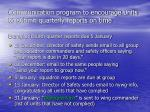 communication program to encourage units to submit quarterly reports on time