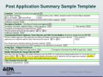 post application summary sample template1