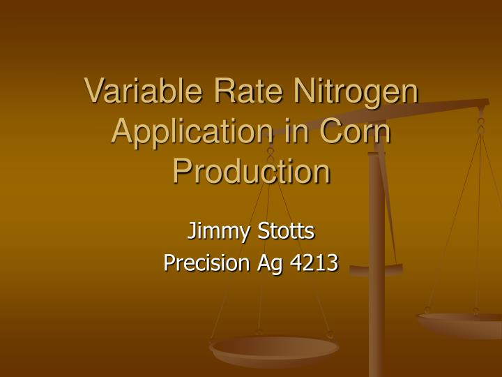 variable rate nitrogen application in corn production n.