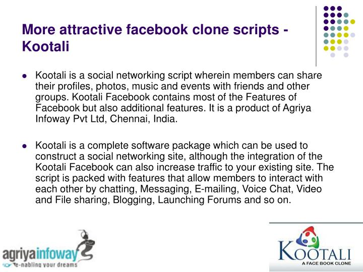 More attractive facebook clone scripts kootali