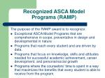 recognized asca model programs ramp