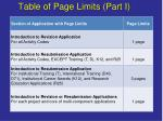 table of page limits part i
