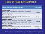 table of page limits part ii