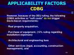 applicability factors cdbg4