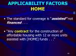 applicability factors home