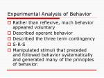 experimental analysis of behavior1