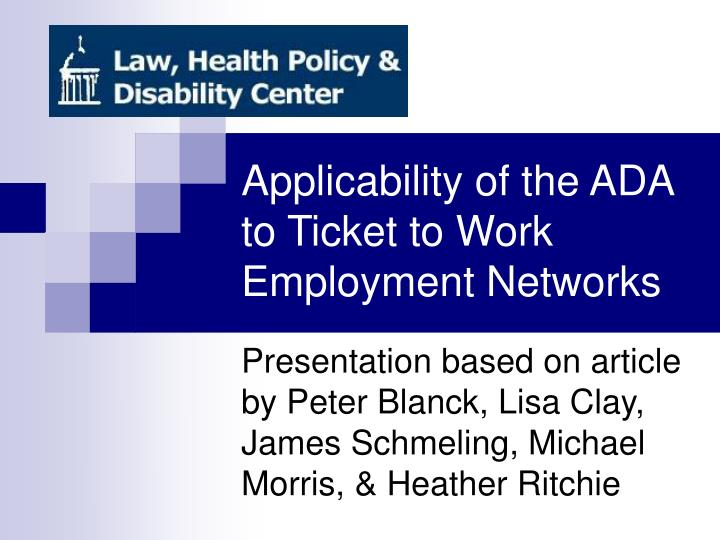 applicability of the ada to ticket to work employment networks n.