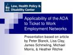 applicability of the ada to ticket to work employment networks