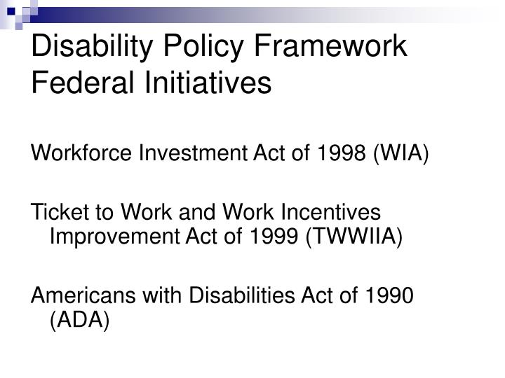 the federal americans with disabilities act Facts about the americans with disabilities act title i of the americans with disabilities act of 1990 prohibits private employers, state and local governments, employment agencies and labor unions from discriminating against qualified individuals with disabilities in job application procedures, hiring, firing, advancement, compensation, job training, and other terms, conditions, and privileges of employment.