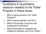 qualitative quantitative research needed on the ticket program in these areas