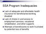 ssa program inadequacies