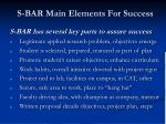 s bar main elements for success