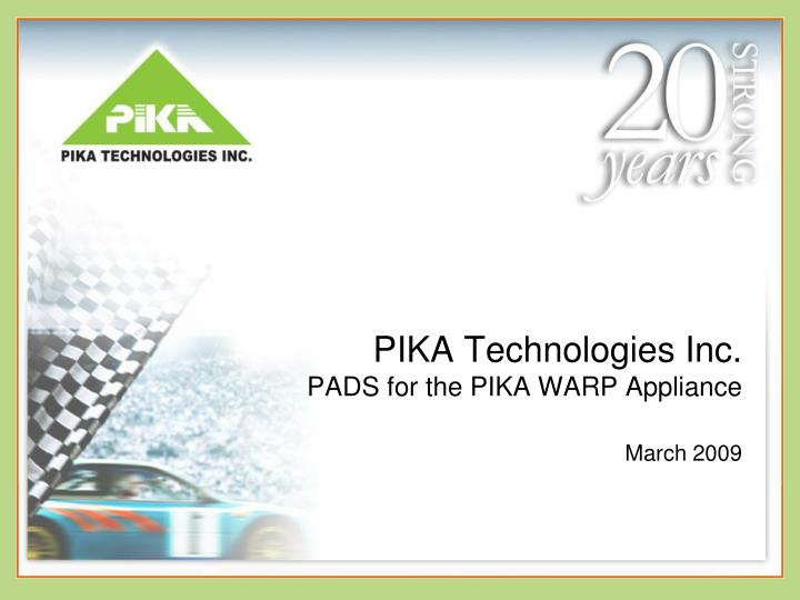 pika technologies inc pads for the pika warp appliance march 2009 n.