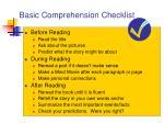 basic comprehension checklist