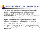 results of the abc braille study