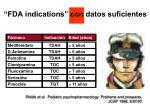 fda indications con datos suficientes