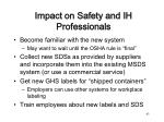impact on safety and ih professionals