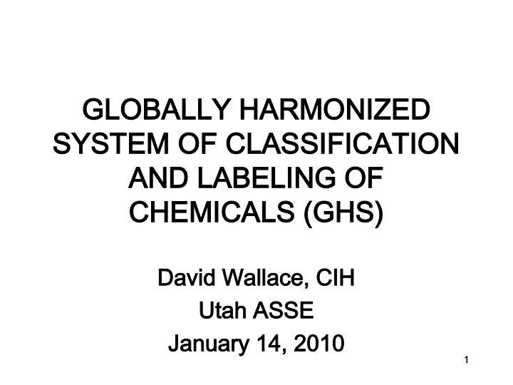 globally harmonized system of classification and labeling of chemicals ghs n.