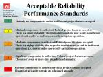 acceptable reliability performance standards