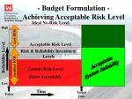 budget formulation achieving acceptable risk level
