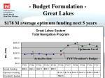 budget formulation great lakes