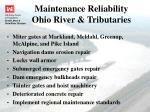 maintenance reliability ohio river tributaries