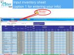 input inventory sheet option 1 for entering your info