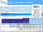 output gri water indicators