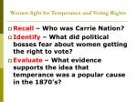women fight for temperance and voting rights