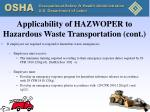 applicability of hazwoper to hazardous waste transportation cont2