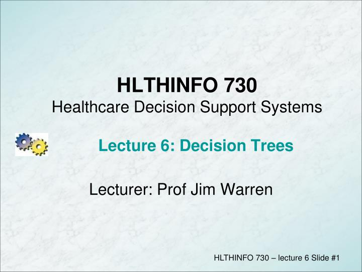 hlthinfo 730 healthcare decision support systems lecture 6 decision trees n.
