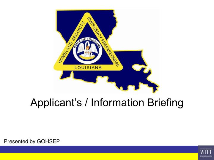 applicant s information briefing n.