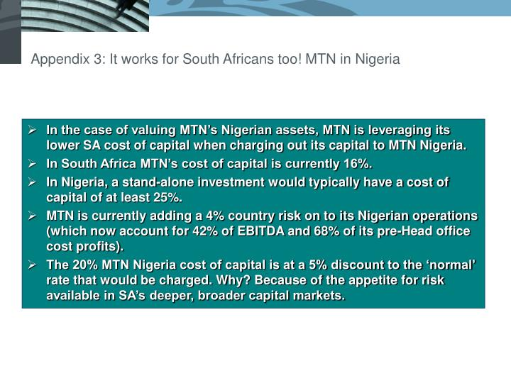 Appendix 3: It works for South Africans too! MTN in Nigeria