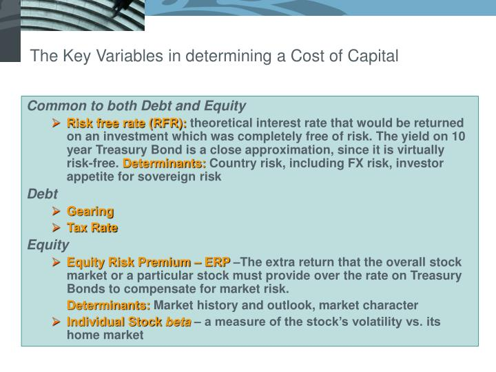The Key Variables in determining a Cost of Capital