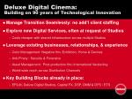deluxe digital cinema building on 90 years of technological innovation