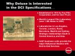 why deluxe is interested in the dci specifications