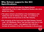 why deluxe supports the dci specifications