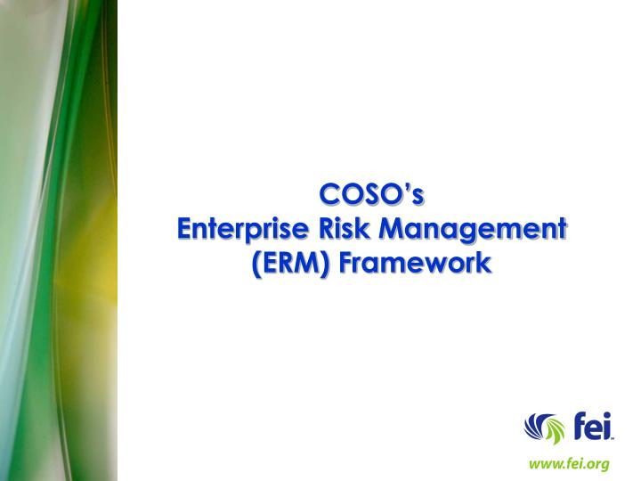 coso s enterprise risk management erm framework n.
