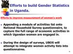 efforts to build gender statistics in uganda