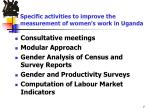 specific activities to improve the measurement of women s work in uganda