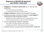 alignment of incose se handbook with iso iec 15288 2008