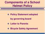 components of a school helmet policy