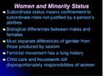 women and minority status